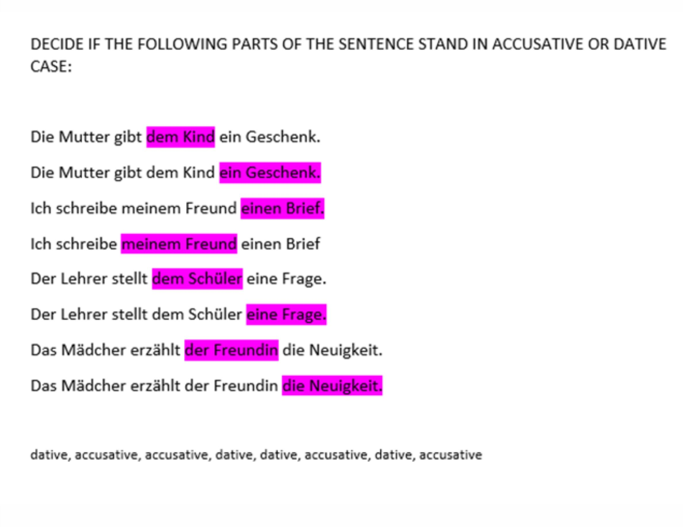Exercise Accusative Or Dative Case German Course