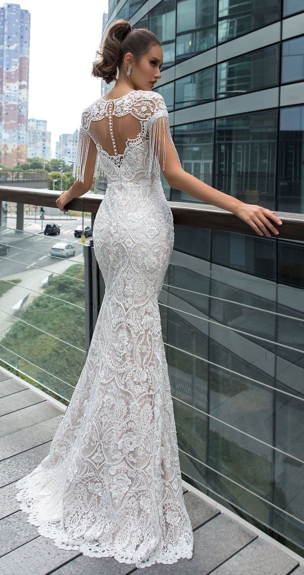 Lace Mermaid Wedding Dress By Crystal Design Dina Bridal Gown With Cap Sleeves And F Lace Mermaid Wedding Dress Wedding Dress Inspiration Wedding Dresses Lace [ 1920 x 1018 Pixel ]