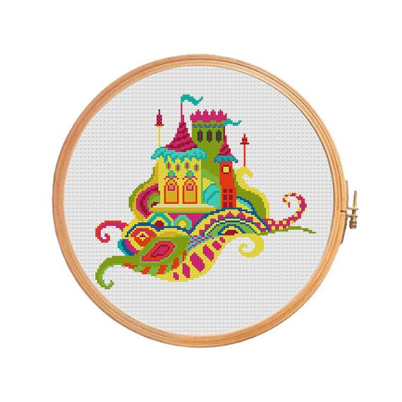 Fairy tale castle with towers, flags in different colours - cross stitch pattern  Floss: DMC Canvas: Aida 14 Grid Size: 121W x 107H Design
