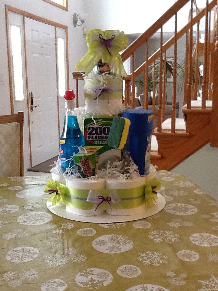 Bridal shower housekeeping cake, toilet paper, paper
