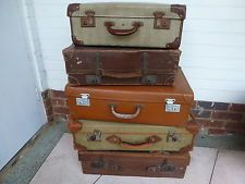 Vintage Suitcases Collection including leather Shop Display Props Staging