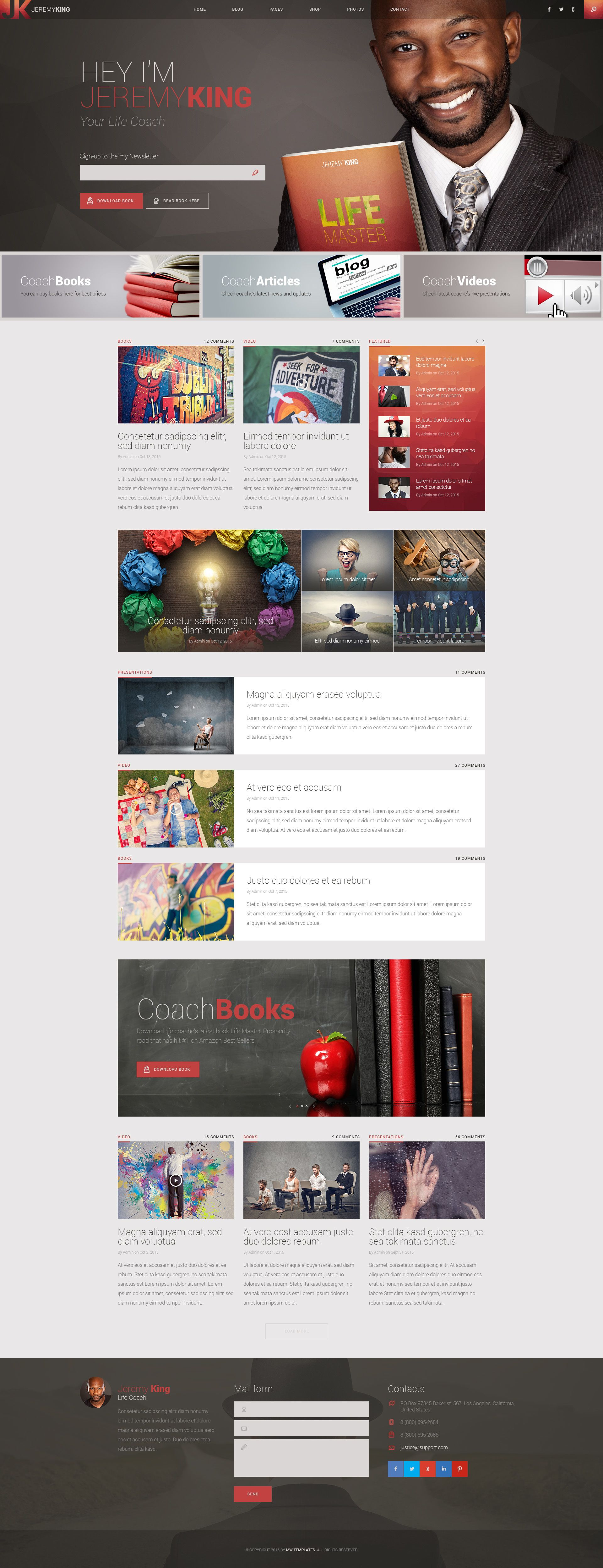 Life Coach - Personal page PSD template | Web banner design