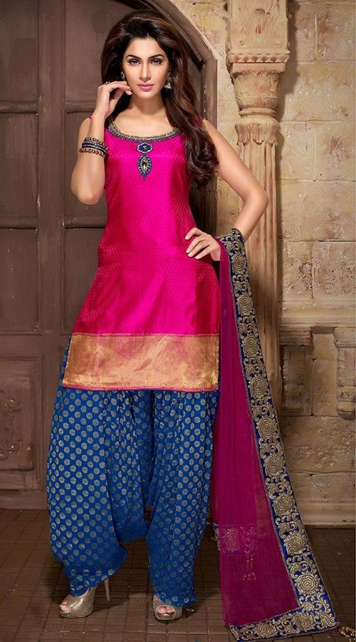 d441f10bed Rani Pink And Blue Art Silk Readymade Patiala Suit WV70354 | Royal ...