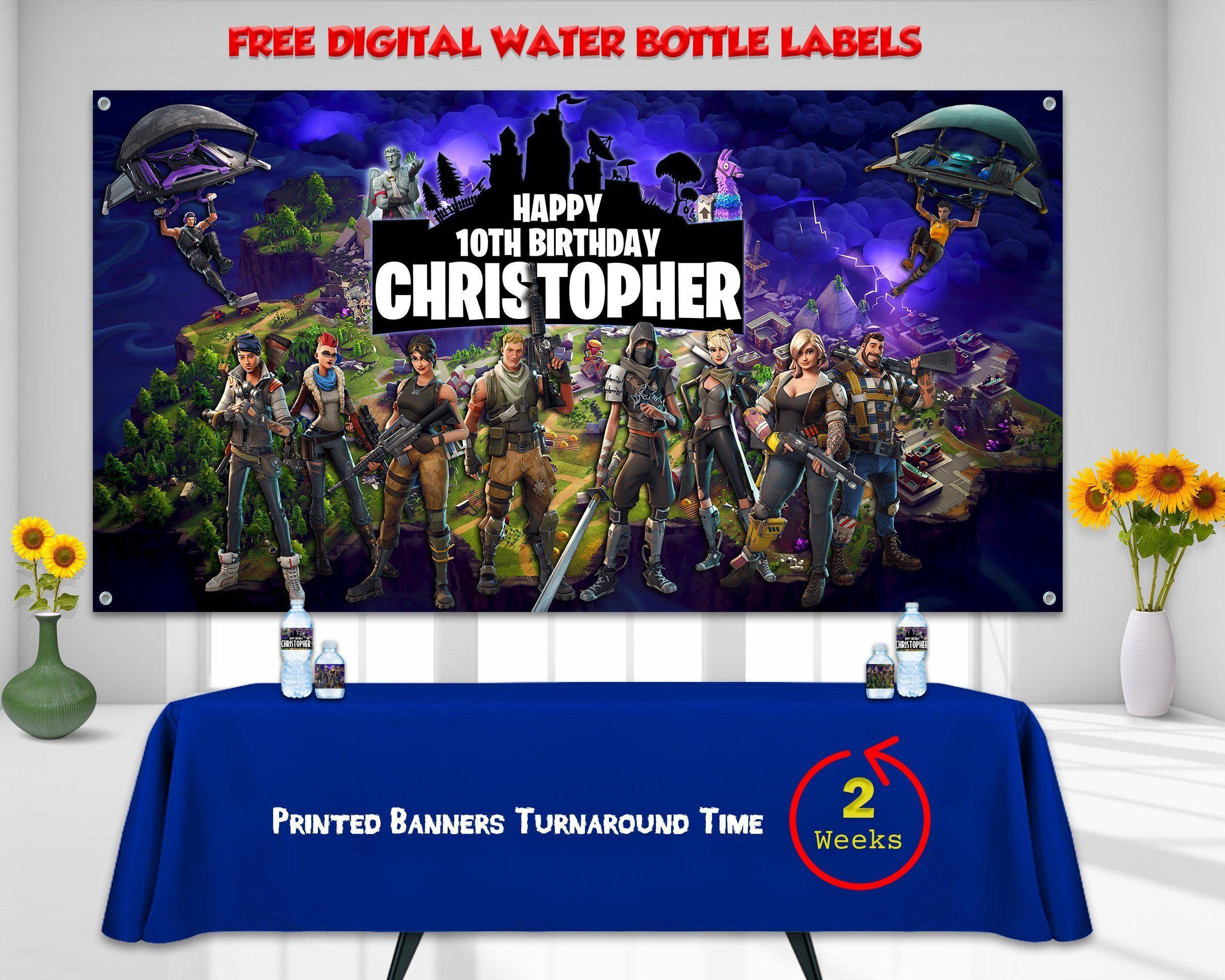 Fortnite Banner Fortnite Backdrop Fortnite Vinyl Canvas Vinyl Canvas Fortnite Water Bottle Labels F Banner Printing Birthday Backdrop Personalized Banners