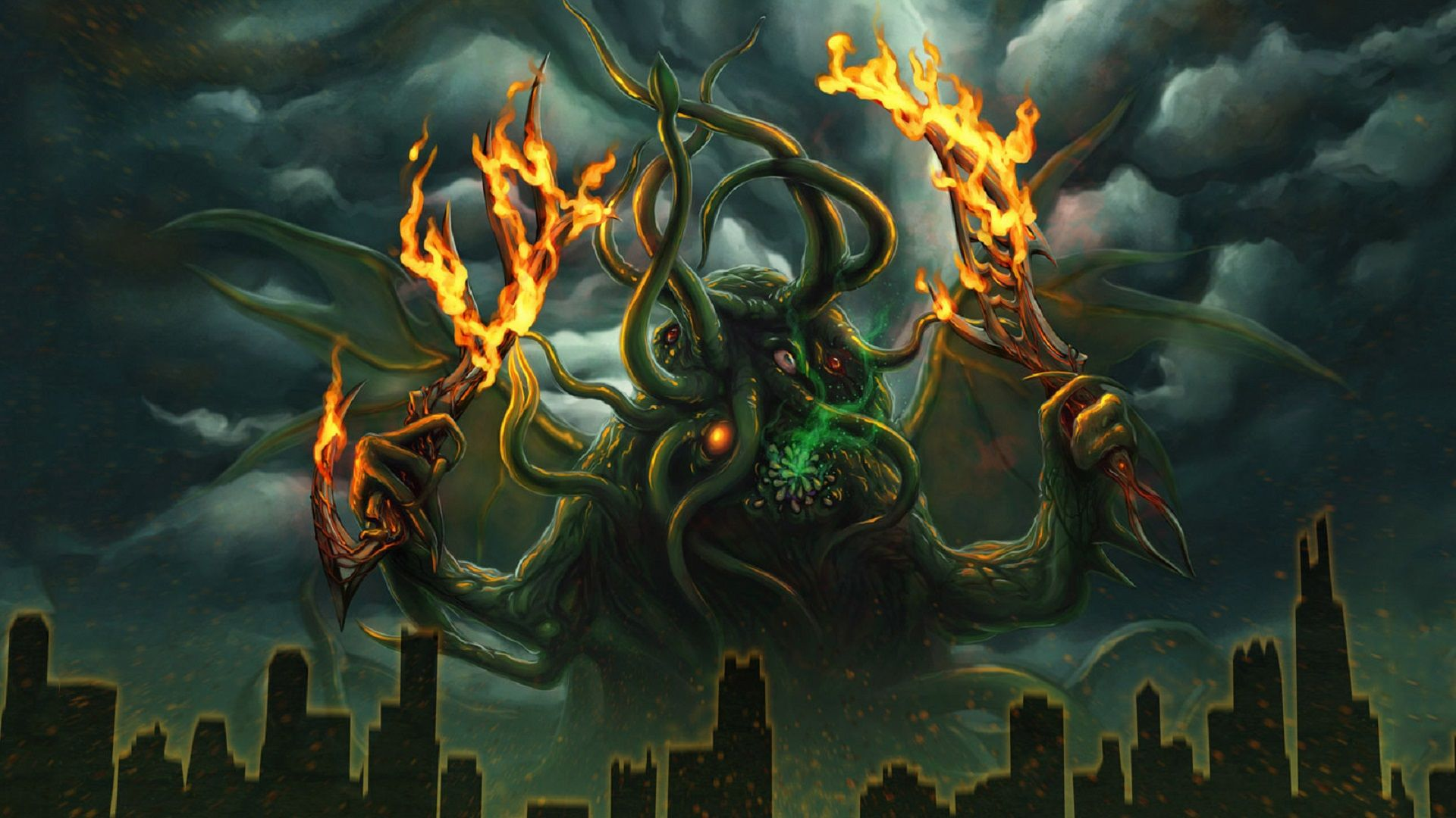 Cthulhu Hd Wallpaper Cthulhu Monster Art Cthulhu Mythos