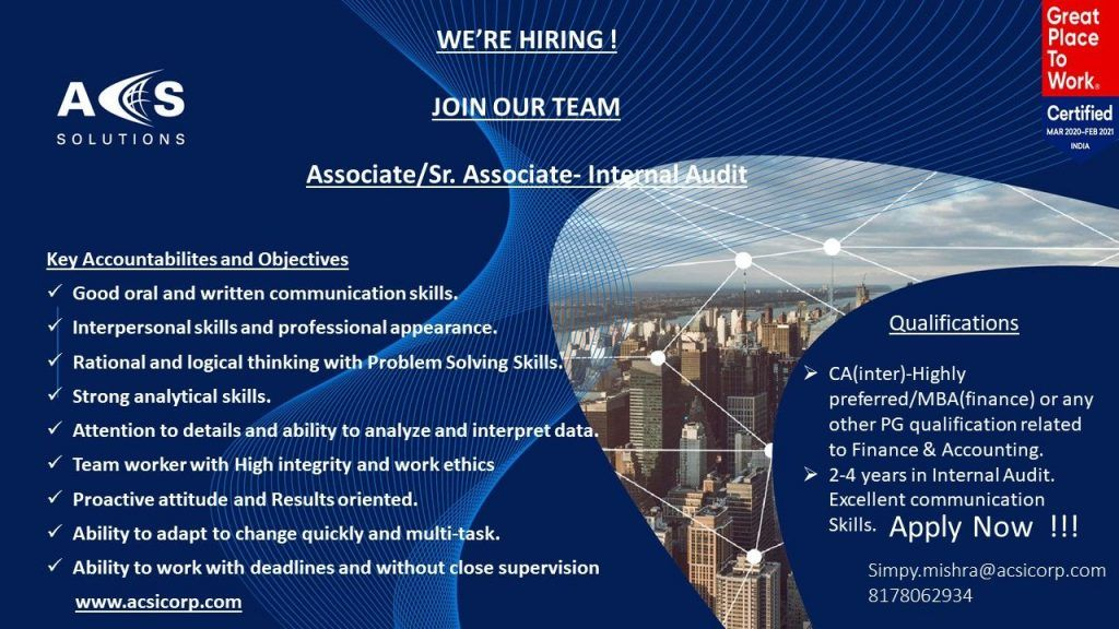 Internal Audit India Job Openings in 2020 Job opening