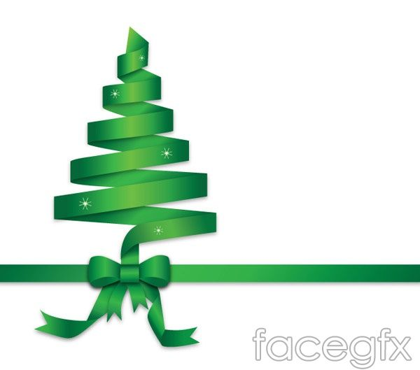 Green Ribbon Christmas Tree Vector Christmas Tree Clipart Green Ribbon Christmas Graphics