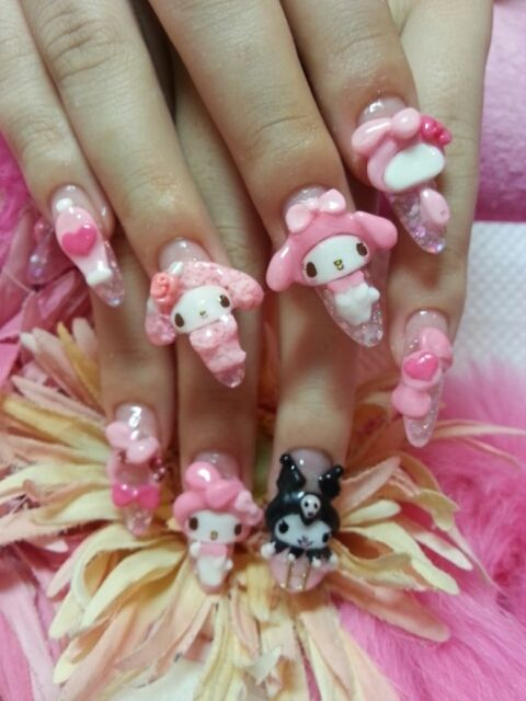 My Melody Kuromi Hello Kitty Nails Kawaii Nails Nail Art Inspiration