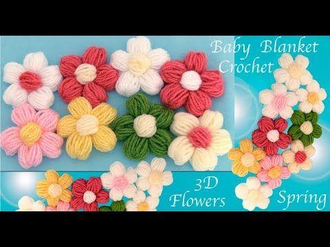 Flores punto puff 3D a Crochet para cobijitas de bebe tejido tallermanualperu - YouTube