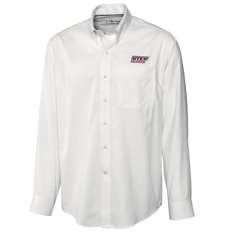 UTEP Miners Cutter & Buck Big & Tall Epic Easy Care Fine Twill Long Sleeve Button-Down Shirt - White