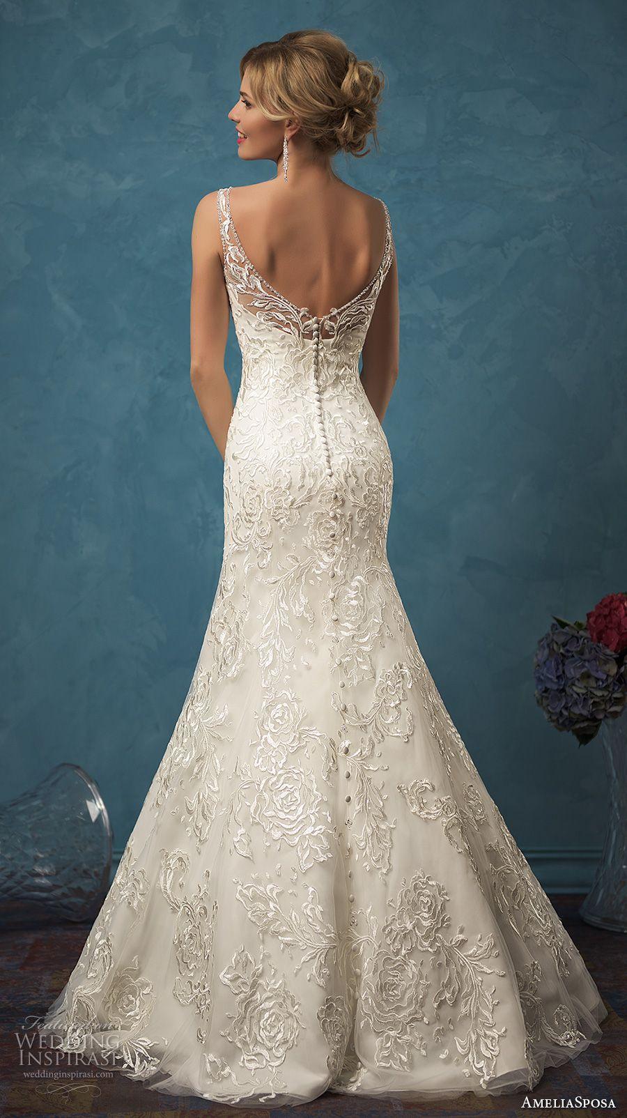 amelia sposa 2017 bridal sleeveless illusion bateau sweetheart neckline fully embellished elegant mermaid wedding dress open back brush train (sarah) bv