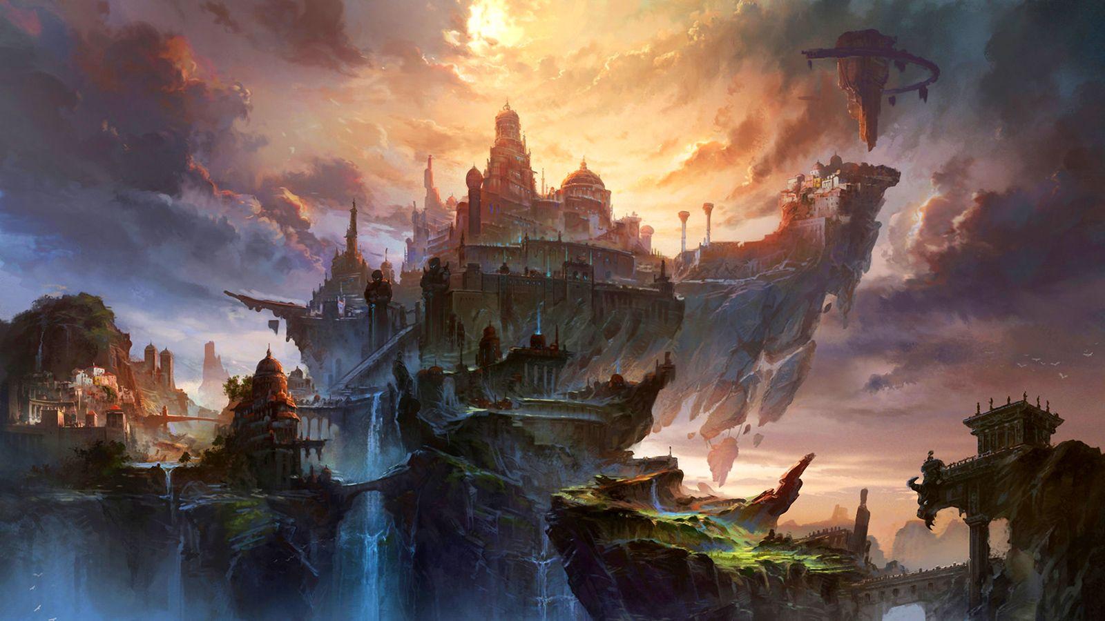 Fantasy City Concept Art Cloud Wallpaper Ma Shang Xuan Hu X1 Mouse Professional Gaming
