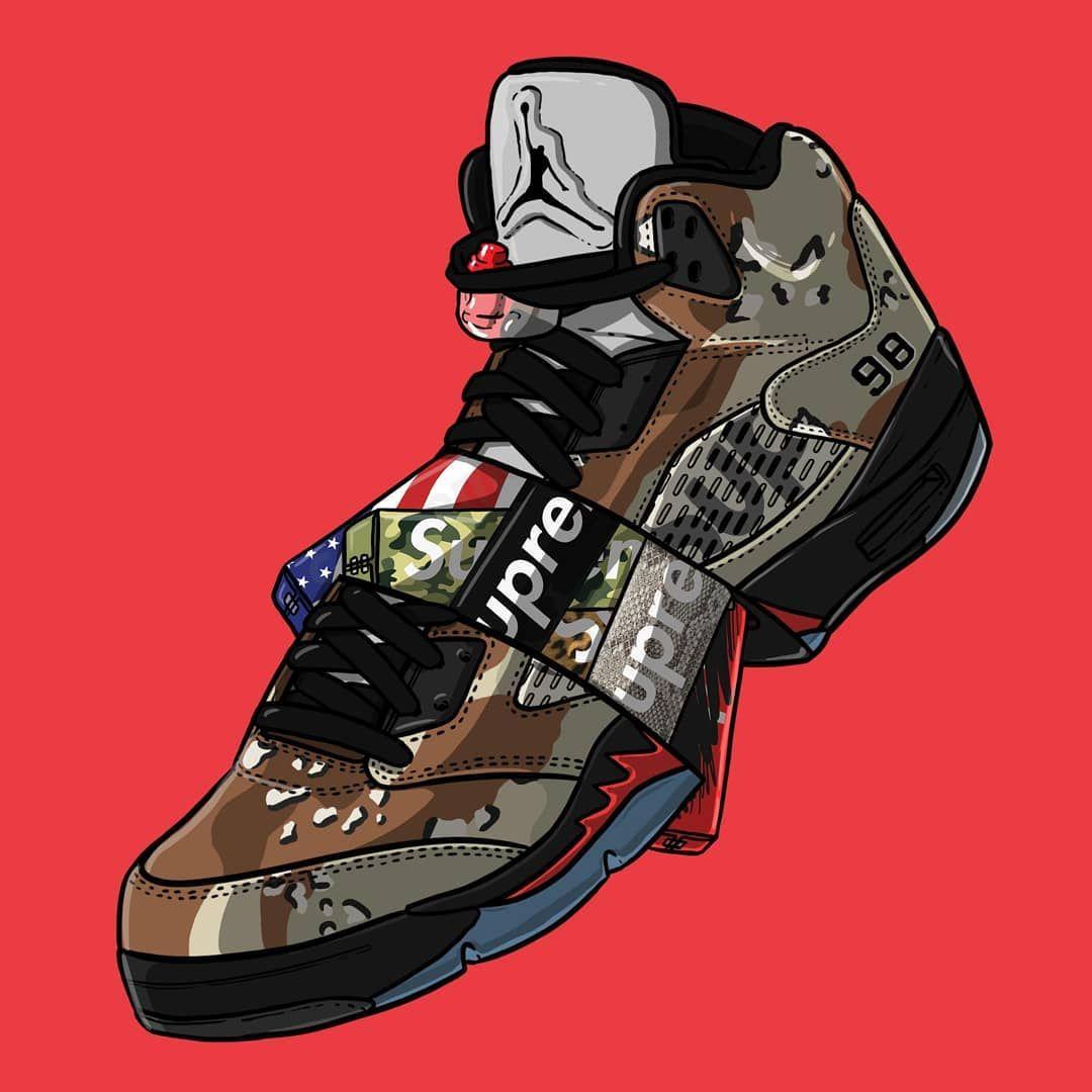 Supreme X Jordan5 Shoes Designer Design Adidas Nike Yeezy