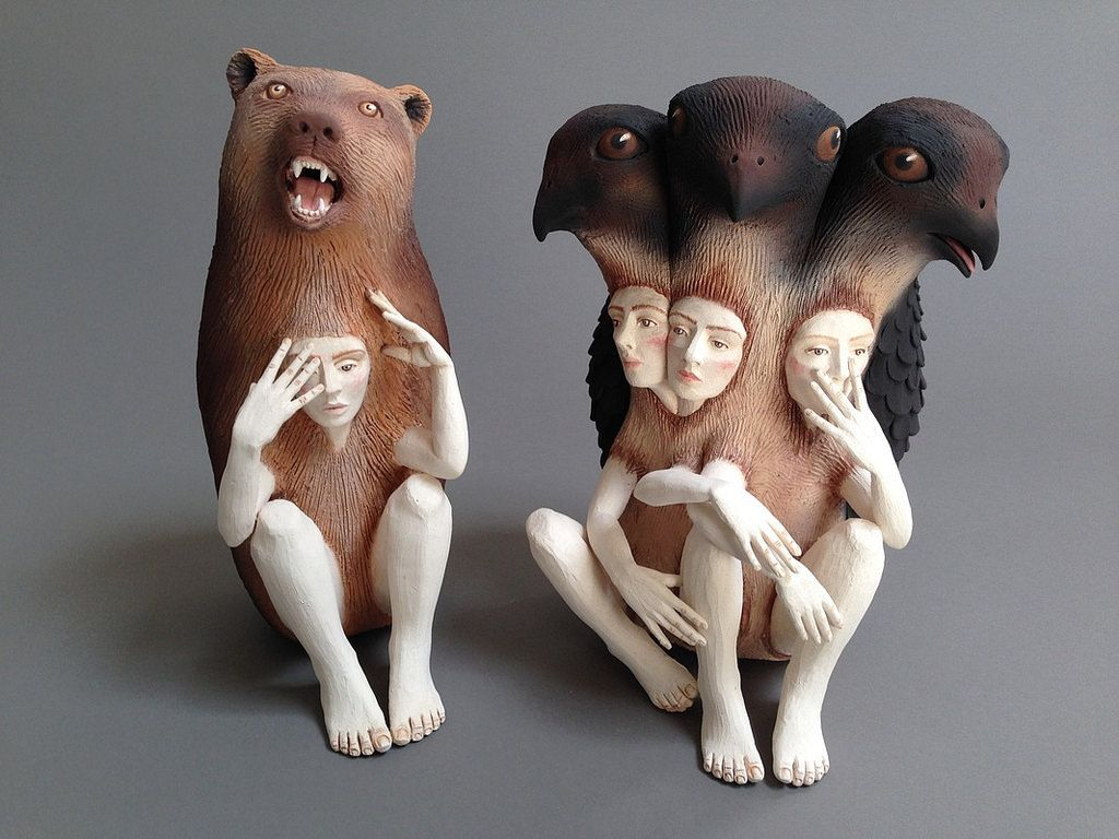 Sculptures Of People Wrapped In Animal Skins By Crystal Morey Ceramic Sculpture Animal Sculptures Sculpture