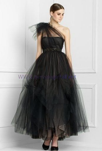 Elegant Black Dress Wedding Bcbgmaxazria One Shoulder Tulle Gown