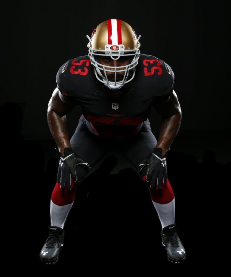 NaVorro Bowman models the new 49ers alternate jersey. Photo ...