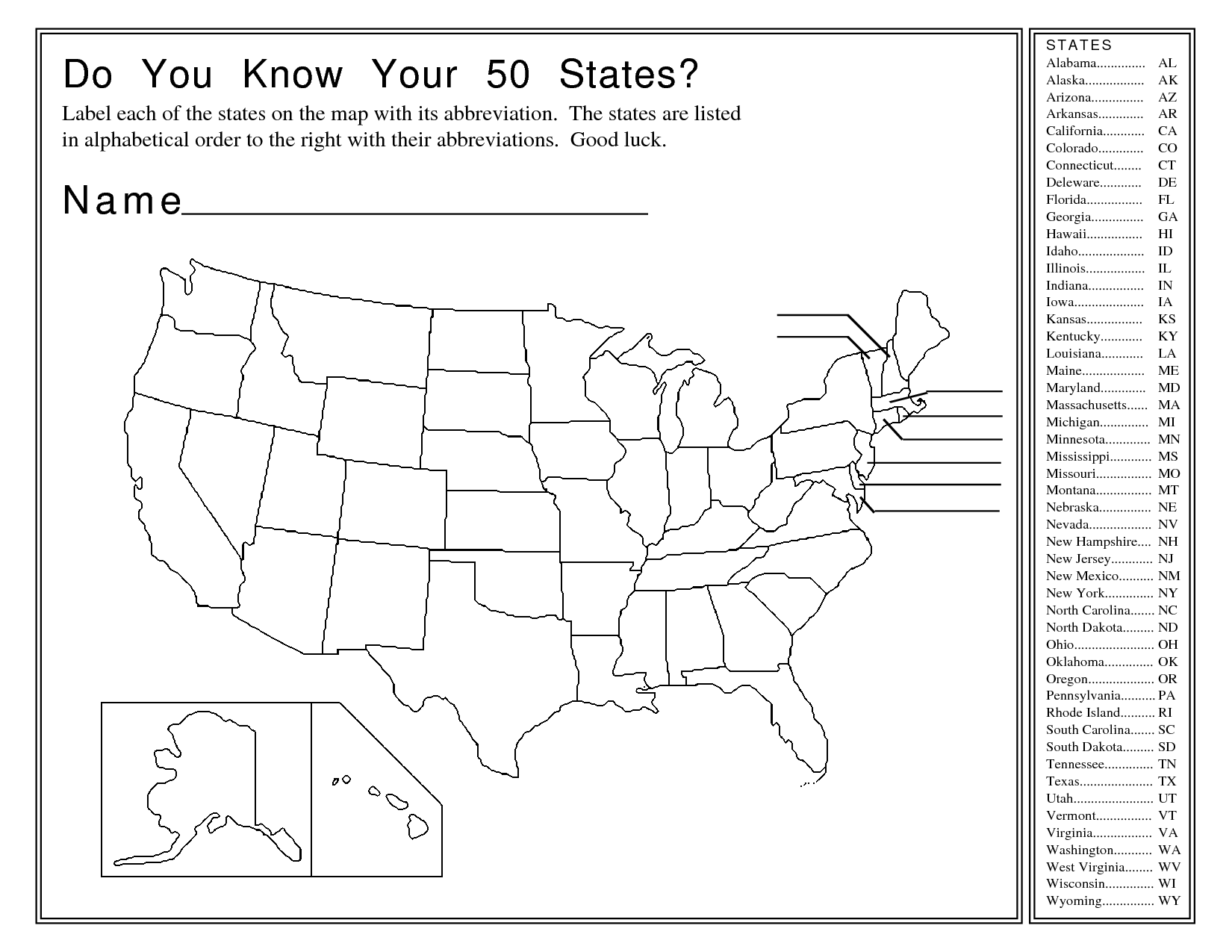 Geography Southeast United States Worksheet