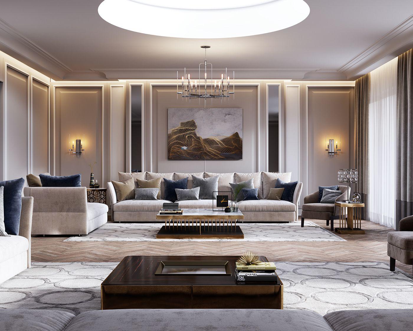 marvelous modern classic living room ideas | Apartments in Saudi ArabiaDesign and Visualization ...