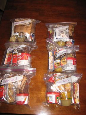 """""""72 hour kits. This shows 3 days of food for two people."""" (I like how they're labeled so he doesn't sneak any of her food.)"""