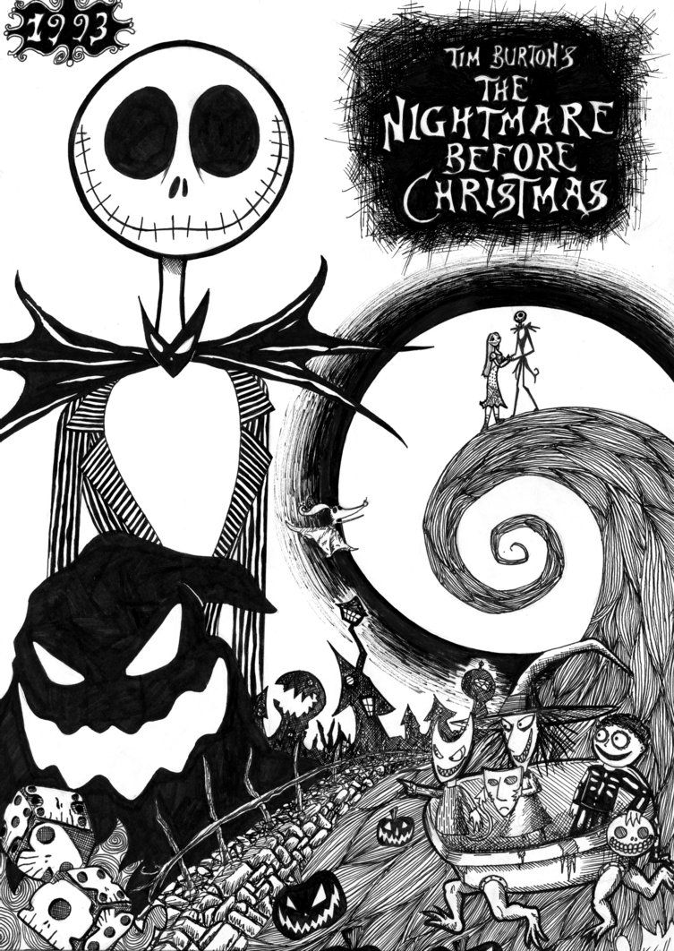 The Nightmare Before Christmas Zero Coloring Pages Nightmare before ...