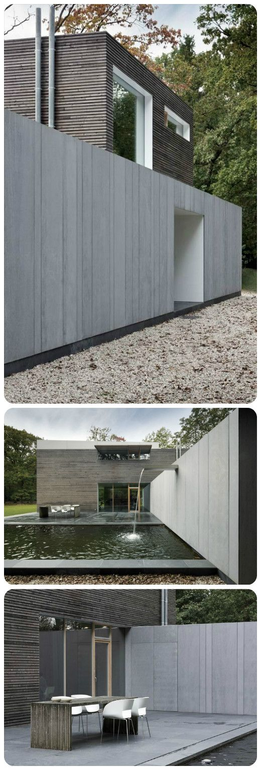 Wood meets fibre cement modern villa in belgium arch for Facade villa moderne