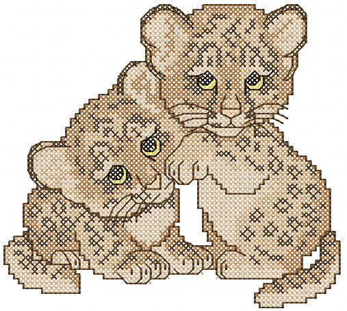 Two Cute Small Leo Cross Stitch Free Embroidery Design Cross