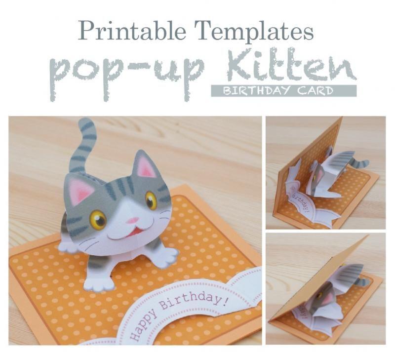 Templates Pop Up Kitten Gray Tabby English Edition Diy Pop Up Cards Pop Up Card Templates Birthday Card Pop Up