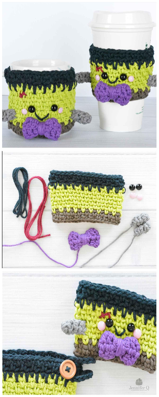 Crochet Halloween Frankenstein Cozies free pattern. | Jennifer Q ...