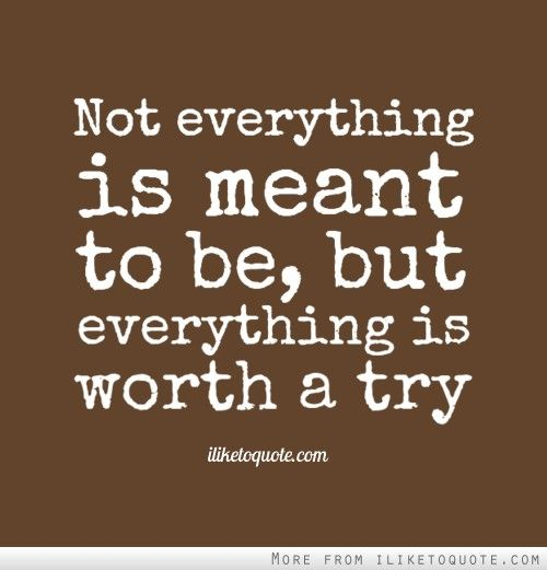 Not Everything Is Meant To Be But Everything Is Worth A Try Meant To Be Quotes Witty Quotes Popular Quotes
