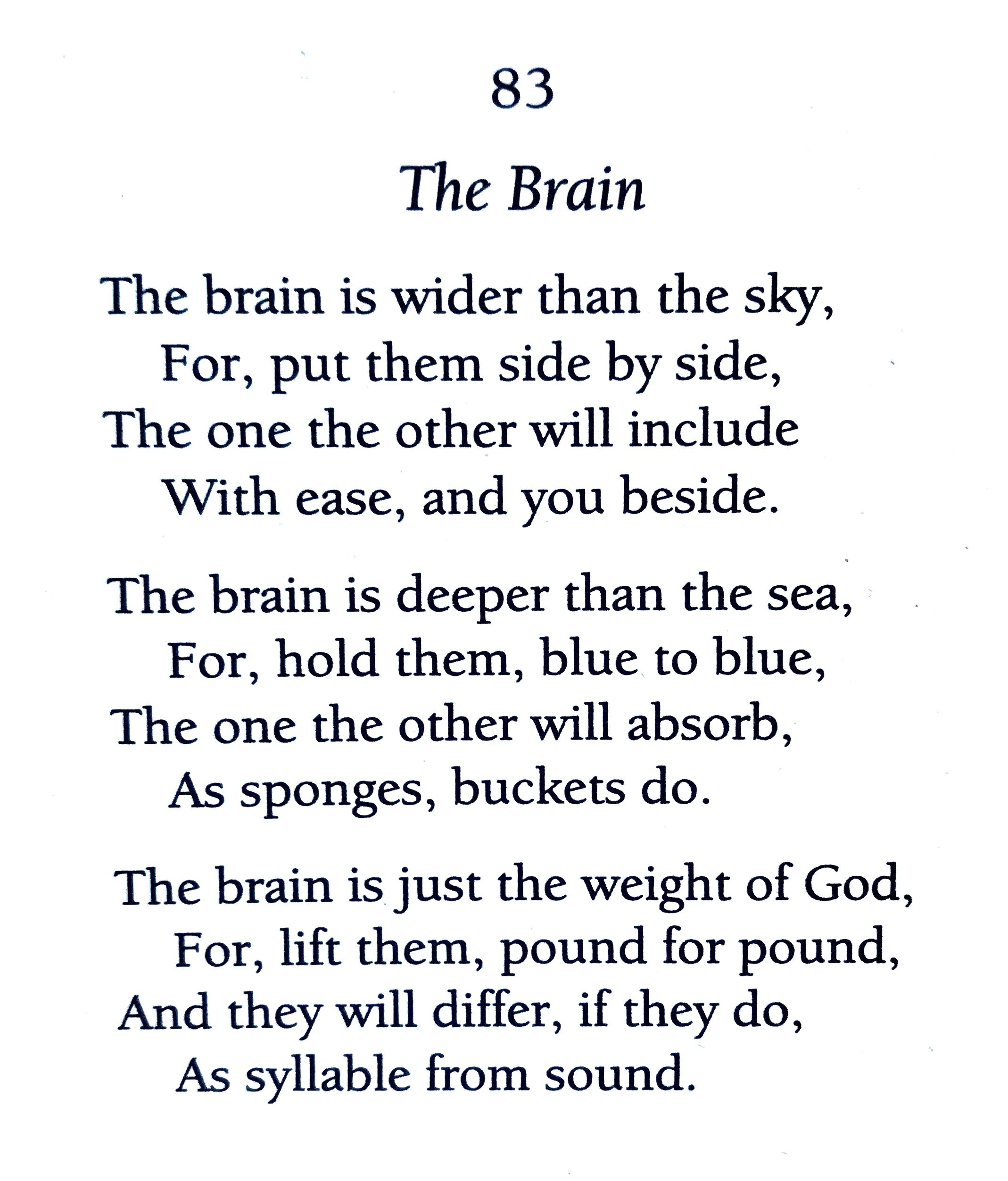 Emily Dickinson The Brain Poem Quotes Because I Could Not Stop For Death Paraphrase