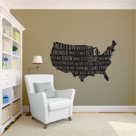 Woodrow wilson us president quote on us map wall decal custom vinyl art stickers
