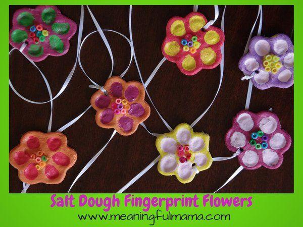 Salt Dough Flower Fingerprints #saltdoughrecipe
