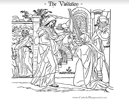 The Visitation Catholic coloring page. Mary visits her cousin ...