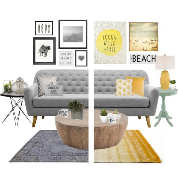 gray vs. yellow. by tothineownselfbtrue on Polyvore featuring polyvore interior interiors interior design home home decor interior decorating Magis Linie Design Rangemark Pillow Perfect Rosanna West Elm Americanflat Park B. Smith Threshold Pomax Dot & Bo Pottery Barn