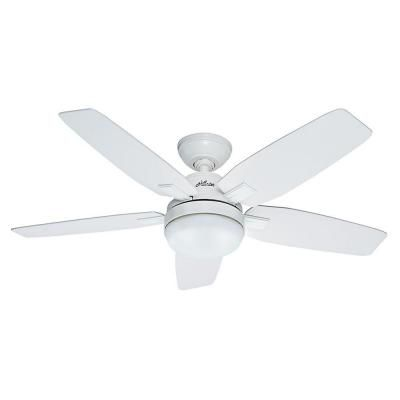 Hunter antero 46 in indoor fresh white ceiling fan with light 120 hunter antero 46 in fresh white indoor ceiling fan 59179 the home aloadofball Images
