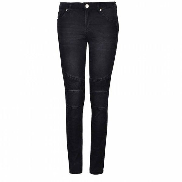 Ally Fashion Washed biker jeans ($29) ❤ liked on Polyvore featuring jeans, black, black biker jeans, black jeans and biker jeans