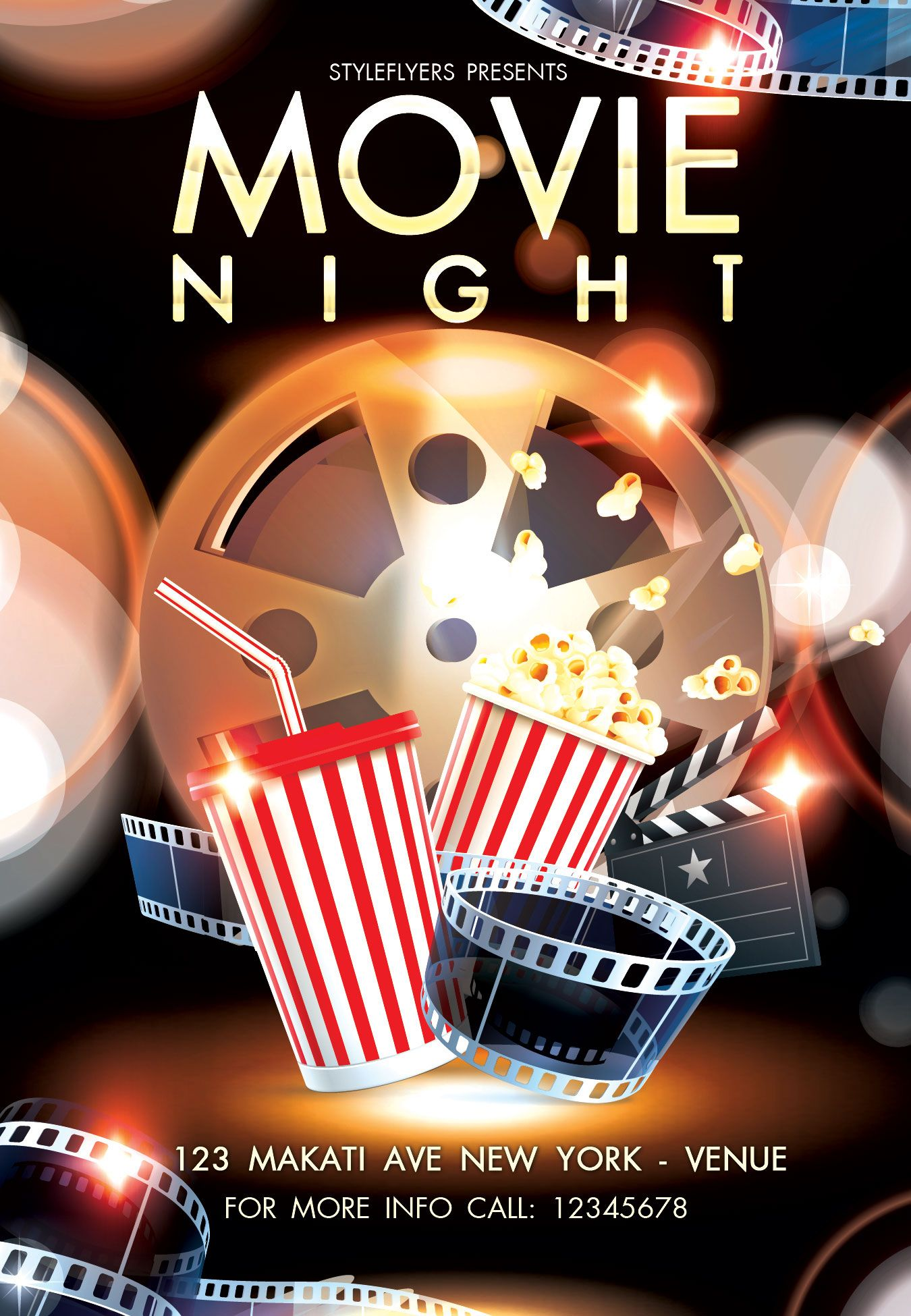 Free Movie Night Party Flyer Psd Template By Styleflyer Com Is The