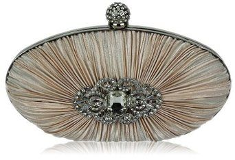 Nude Satin Rouched Crystal Oval Clutch Abentasche KCMODE