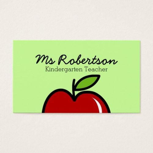 Teacher business card template with red apple teacher pinterest teacher business card template with red apple accmission Choice Image