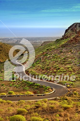Winding road in mountains of Gran Canaria in Canary Islands