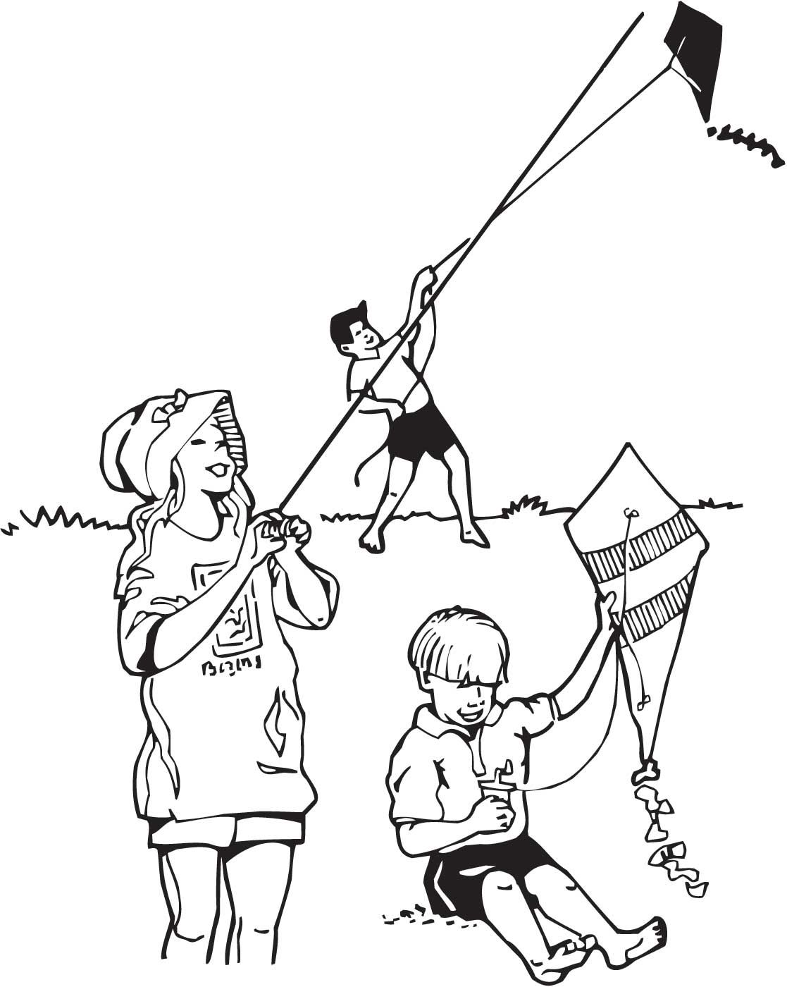 coloring pages of child flying kites | Trends For > Flying Kite ...