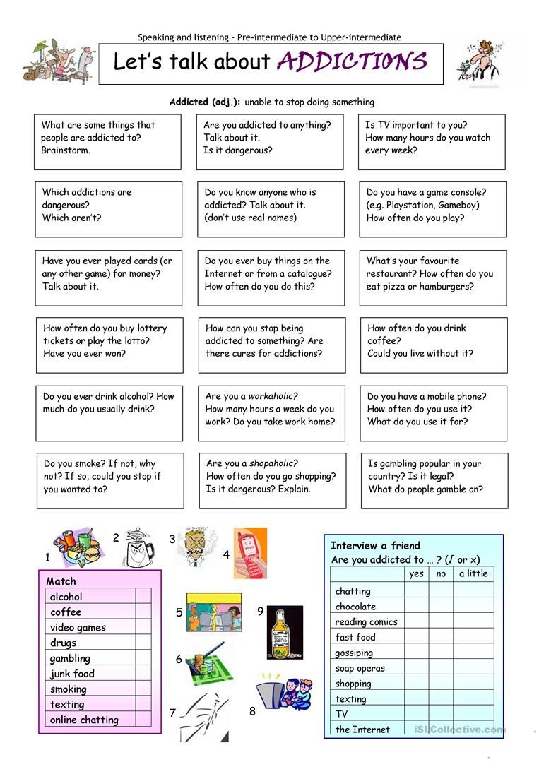 Let\'s Talk about Addictions worksheet - Free ESL printable ...