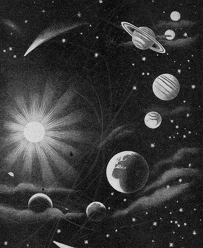 Solar system... | Black and White illustration... en 2019 ...