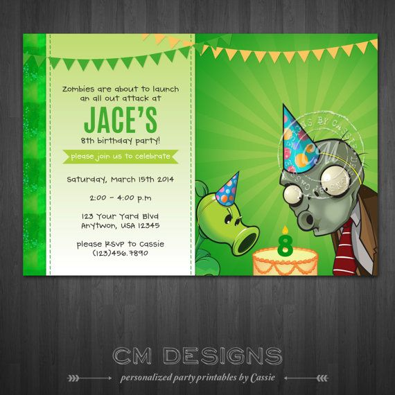 Plants vs zombies birthday invitation by designsbycassiecm on etsy plants vs zombies birthday invitation by designsbycassiecm on etsy 1299 stopboris Images