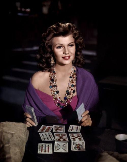 Rita Hayworth reading tarot in The Loves of Carmen, Columbia Pictures