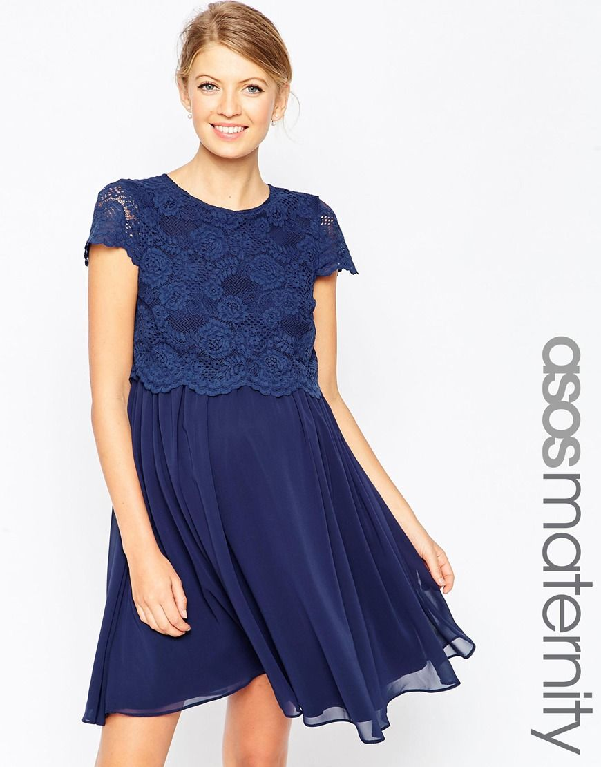 e1d24fba68af97 ASOS Maternity Skater Dress With Lace Crop Top