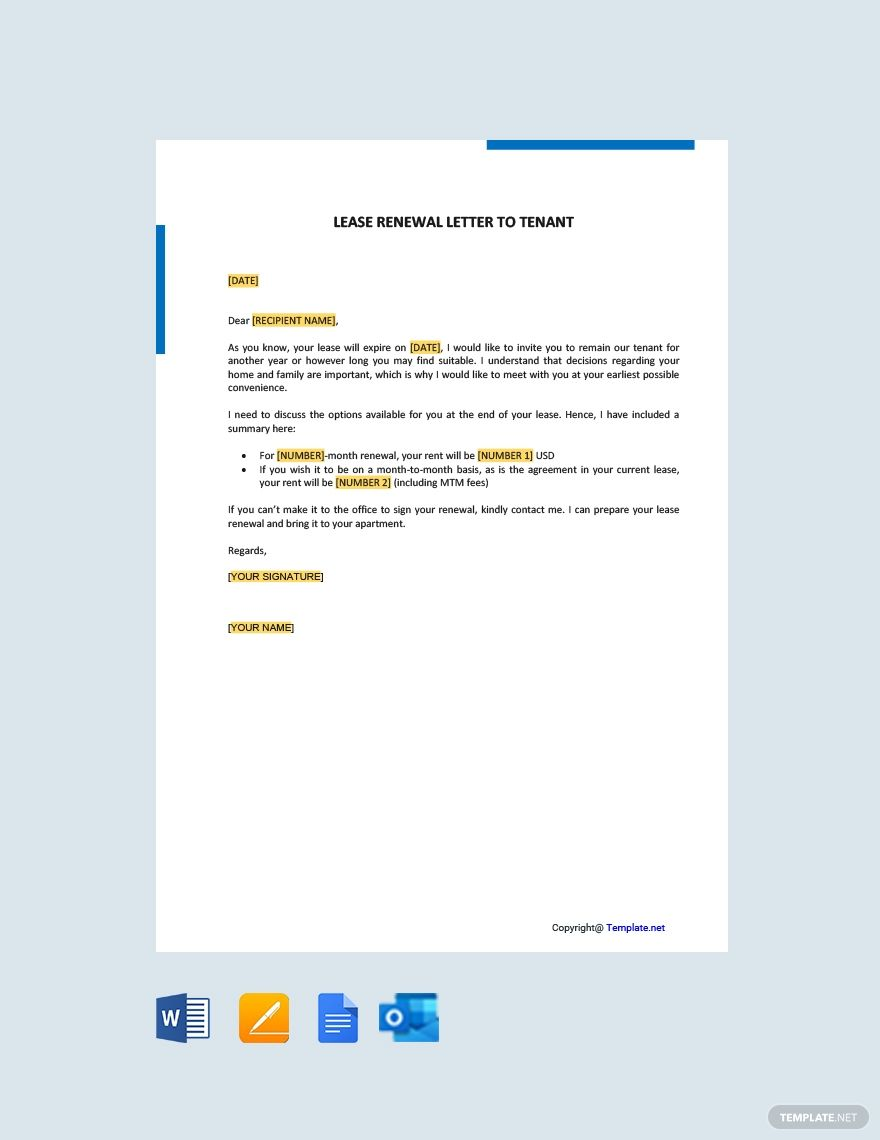 Lease Renewal Letter Template To Tenant Free Pdf Word Doc Apple Mac Pages Google Docs Lease Lettering Renew