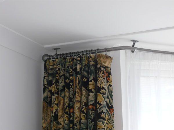 ungathered curtain heading dressed under pole living. Black Bedroom Furniture Sets. Home Design Ideas