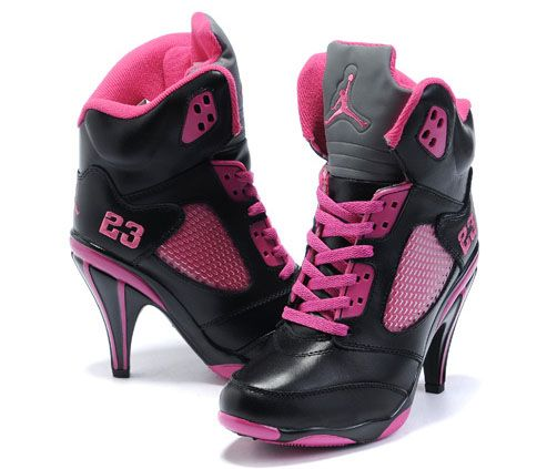 Womens Air Jordan 5 High Heels Black Pink