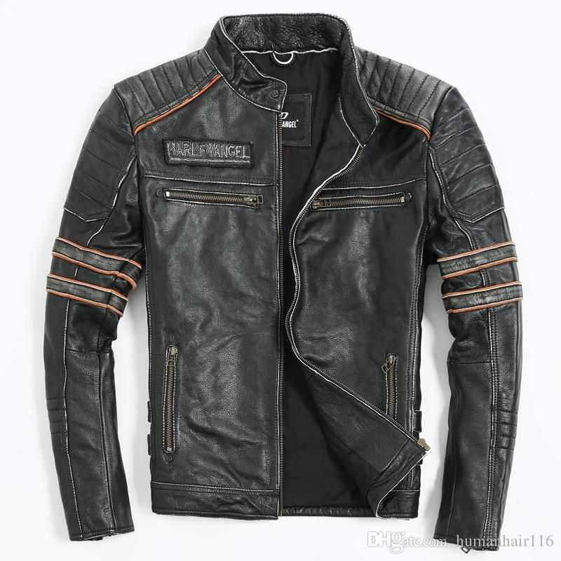 2018 Vintage Black Genuine Leather Mens Jacket Skull